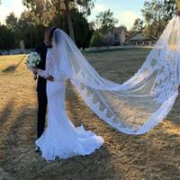MEJOR venta de lujo de lujo imagen real velos de boda de tres metros de largo velos de encaje apliques cristales de dos capas longitud de catedral barato velo nupcial