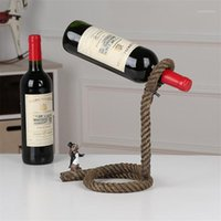 Cadena de artesanía creativa Estante de vino Magic 3D Soporte de alcohol suspendido Titular de la botella de vino de la cuerda blanca Práctica en casa Bar1