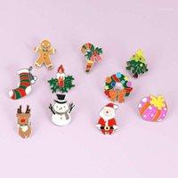 핀, 브로치 크리스마스 브로치 에나멜 나무 벨 양말 캔디 년 귀여운 배지 가족 축복 선물 보석 Gift1