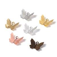 100 unids 11x13mm Butterfly de cobre Filigry Wraps Conectores Charms Colgante para la joyería de bricolaje que hace accesorios hallazgos hechos a mano