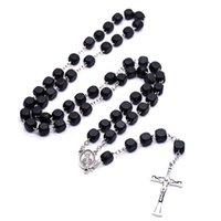 Ore negro cuadrado de madera de Cristo Rosario Neckalce cruz de la vendimia Beads Collar largo religiosa joyería Nueva