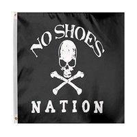 Keine Schuhe Nation Flagge Piraten-Schädel ohne Cowboyhut Fan Club Flags 3x5FT Banner für Dekoration Geschenk Doppel Stitching Polyester Werbung