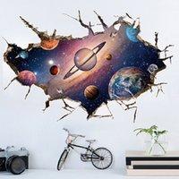 Simanfei Espaço Galáxia Planetas Adesivo de Parede Adesivo Impermeável Vinil Art Mural Decalque Universo Estrela Papel de Parede Kids Room Decore 201106