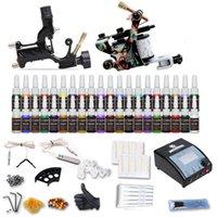 완전한 문신 키트 2 총기 기계 40 색 잉크 일회용 바늘 전원 공급 장치 팁 그립 D100-2DH
