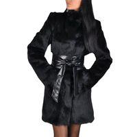 Piel de mujer Faux Ropa Abrigos Mujer Moda Caliente Sólido Solid Soft Lady Invierno Plush Otoño Bolsillo Manga Larga Mantenga Abrigo