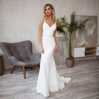 Verngo Mermaid Wedding Dress Simple Stain Wedding Gowns Elegant Backless Bride Dresses Vestidos De Noiva