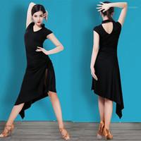 Ropa de escenario Vestido latino Entrenamiento adulto Black Dance Sexy Slit Plus Talla de rendimiento Ropa Flamenco Ballroom Ropa B22621