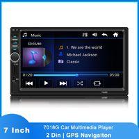 Audio de automóvil 2 DIN 7018G Auto Multimedia Player Bluetooth FM USB GPS Navigation MP3 MP5 STEREO RADIO STEREO 7 'PINTH HD Pantalla táctil
