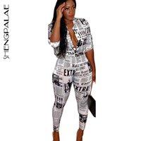 SHENGPALAE Женщина двухкусочной Эпикировки Печать газеты Весна Весна мода отложной воротник костюм для женщин Мода FQ179 201009