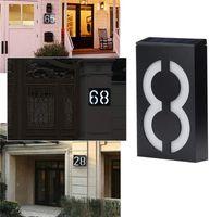 Solar beleuchtete Hausnummern Home Nummernzeichen, im Freien wasserdicht 6 LED-Hausadressennummern Plakette beleuchtet Wandmontage-Nummernzeichen, 7 Zoll