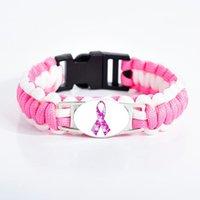 سحر أساور سرطان الثدي الوعي الوردي الشريط سوار الملونة لغز التوحد الزجاج قبة بقاء paracord للنساء kids1