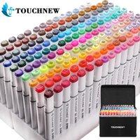 Touchnew Markers kalem seti 20/36/48/72/108/168 renkler animasyon kroki marker çift kafa çizim sanat fırça kalemler alkol 201102