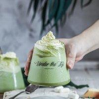 مجموعة من الأزياء 2pc زجاج الحليب القدح جبل بركان على شكل عصير القدح البيرة القهوة المقاومة للحرارة DRINKWARE 300ML