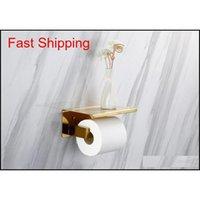 Mathed Gold SUS304 Туалетная бумага держатель с полкой ванной комнаты для ванной комнаты Аксессуары Держатель ткани Черный / CH Qylhkn Homes2011