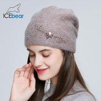 IceBear Зимние вязаные шапки для женщин России случайных шапочки ангорской шерсти кролика волосы толстые теплую шапку для женских E-MX19107 201009