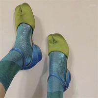 드레스 신발 Tabi 발가락 블록 뒤꿈치 샌들 여성 버클 스트랩 숙 녀 혼합 된 컬러 샌들 워터 펌프 펌프 Zapatos Mujer1
