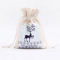 Sac d'emballage cadeau de Noël 13 Styles main sac de rangement de Noël coton Drawstring stockage cadeau sac Livraison gratuite HHB2344