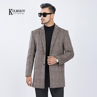 KOLMAKOV 2020 New Winter Korean Style Men Tailored Collar Jacket Woolen Long Coat Casual Plaid Gray Khaki Overcoat Male Size 3XL