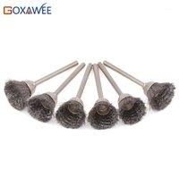 GOXAWEE 50pcs Herramientas rotativas de pulido de 3,0 mm de cepillo de cobre amarillo montado alambre de acero pulido ruedas abrasivas Herramientas para Electric Engraver1