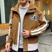Collar Jackets Man Zipper Hooded Jacket Fashion Trend Long Sleeve Loose Outerwear Coats Designer Winter Male Casual Buttons Stand