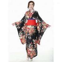 Japon Geleneksel Kız Çiçek Geisha Kimono Vintage Kadın Sahne Gösterisi Kostüm Cosplay Cehennem Kızlar Enma Kadınlar Sakura Suit1
