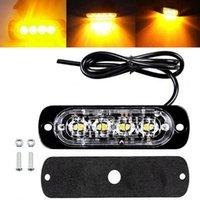 1 / 2PCS 4 LED Strobe Avvertimento LUCE Strobe Grille Lampeggiante Lightbar Truck Car Beacon Lampada Amber Blue Semaforo rosso DC 12V-24V