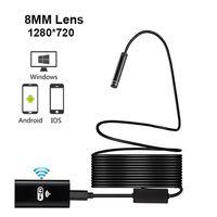 WiFi Endoskop Kamera HD 720 P 8mm Lens Kablosuz Muayene Yumuşak Kablo Su Geçirmez Borescope Android IOS Telefon Mac Endoskop 1 M 3 M 5 M