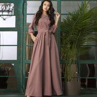 Femmes élégant soirée robe lanterne manche o cou cordons robe solide 2019 Femmes automne maxi robe de fête longue x1224
