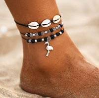 2020 New Ocean Beach Sea Shell Cowrie Tobillo Pulsera Multi Layer Beads Cadena ajustable Macrame Mussel Seashell Anklets para mujeres