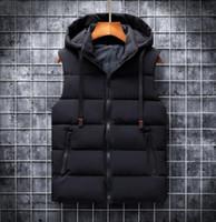 가을 겨울 2020 조끼 남성 캐주얼 양복 조끼 민소매 재킷 Woih 후드 따뜻한 남성 조끼 Bodywarmer 다운 조끼 남성용 6XL