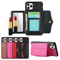 Miroir Premium Flip PU Portefeuille Cuir Cuir Kickstand Phakows Femmes Case Téléphone iPhone 12 11 PRO XS Max Mini XR x 7 8 Plus
