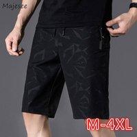 Homens Casual Shorts Slim Black Summer Grande Tamanho 4XL Joelho Knee-Length Estilo Coreano Adolescentes Moda Simples Quick Seco Zipper Bolso Ulzzang