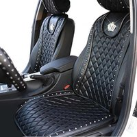 Leather Car Seat Cover Diamond Crown Rivets Auto Seat Cushio...
