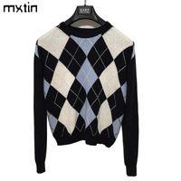 марочные стильный геометрический ромбической пуловер вязаный свитер женщин 2020 моды с длинным рукавом горячей продажи верхней одежды вершины в стиле Англии