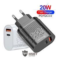 20W Tipo C USB CARGADOR RÁPIDO 5V 3A PD CARGA DE PUERTOS DUALES Adaptador de pared UE Taps de EE. UU. Taps de carga rápida para iPhone Samsung Noey