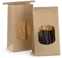 Borse da forno Custodia di carta Kraft con finestra trasparente TIP TIP TIE TIP LOCK Blocco sacchetti di barriera dell'umidità Borse da caffè