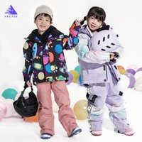Girls Ski Suit Waterproof Kids Ski Jacket Pants High Quality Winter Warm Clothing Outdoor Hooded Suit -30 Degree