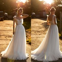 2021 Bohemia Wedding Dresses Spaghetti Straps Lace Appliques Bridal Gowns Custom Made Sexy Backless Sweep Train A Line Wedding Dress