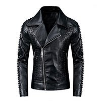 Männer Jacken Kimsere Mode Herren Punk Stil Leder Biker mit Rivet Hi Street Motorrad Faux Oberbekleidung PU-Tops Streetwear1