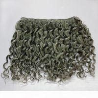 Graue Farbe Tiefwelle Brasilianisches menschliches Haar lockig 300g 7A Brasilianische lockige graue Haarschussbündel-Erweiterung