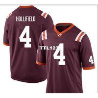 3421 VA Tech Hokies Dax Hollifield # 4 Gerçek Tam Nakış Koleji Jersey Boyutu S-4XL veya Özel Herhangi bir isim veya numara forma