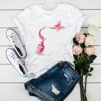 Sommertops 2021 Harajuku Nagellack T-shirt Frauen Vogue Aquarell Drucken Tshirt Femme Weiß Lässige Weibliche T-Shirt Streetwear