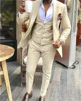 뜨거운 판매 groomsmen 샴페인 신랑 턱시도 노치 옷깃 남자 정장 웨딩 / 댄스 파티 / 디너 최고의 남자 블레이저 (자켓 + 바지 + 넥타이 + 조끼) G150