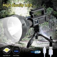200000LM 25W XHP50 LED Searchlight 4 Modalità luminosa USB Ricaricabile Ricaricabile Waterproof Emergency Work Light with Bracket