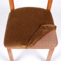 Chaise amovible lavable Couvre chaises de salle à manger de velours ménagère Coussin élastique hiver spandex couverture de siège anti-poussière Maison 7zf m2