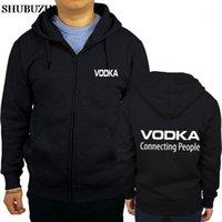 Uomini con cappuccio moda autunno inverno cerniera lampo vodka - collegamento Persone SHUBUZHI Giacca Cappotto Man Sportswear Euro Size1