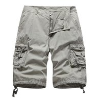 2021 Sommer Stil Insgesamt Shorts Herren Massivfarbe Lose Multi-Pocket Sports Overalls 100% Baumwolle Gerade Fracht Hosen Männer