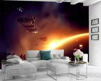 Moderne Wandmalerei 3D Wallpaper 3D Wallpaper Scenery in Wand-Aufkleber Fantasie Spaceship dekorative Innen Silk 3D Wandbild Tapete