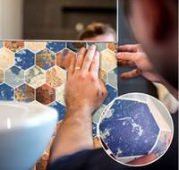 Wallstickers 28cm * 19cm imitação de couro espessado adesivo cerâmico telha mosaico adesivos de parede 3d pedra padrão pvc auto-adesivo papel de parede banheiro