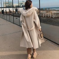Hot Sale Cashmere lã Brasão Sleeve Collar Com Natural real Fur Casual Hooded Cardigan Mulheres Cashmere Jacket Double-Sided